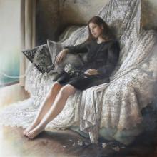 「結び目の行方」 シナベニヤ 綿布 白亜地 油絵具 S100 2015年