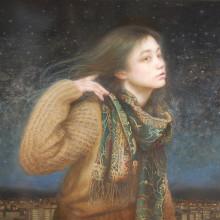 「夜景」 シナベニヤ 綿布 白亜地 油絵具 F20  2014年