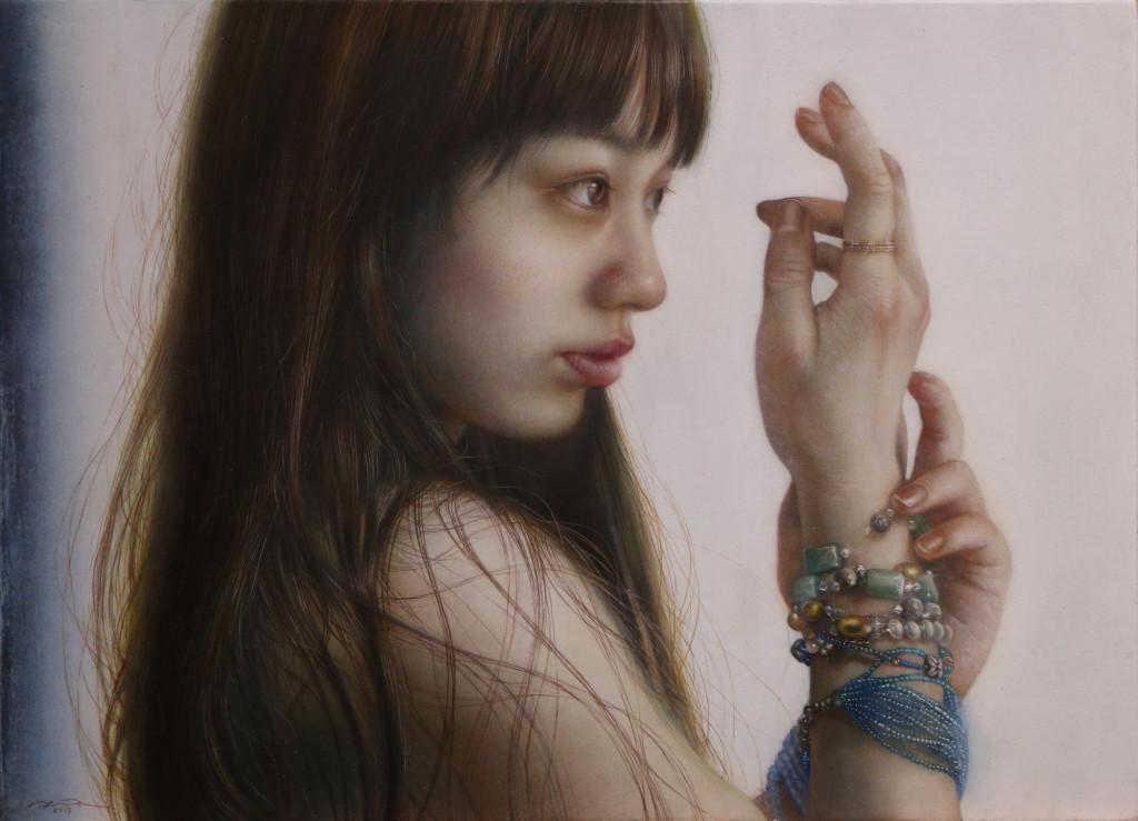 「連なる」 シナベニヤ 綿布 白亜地 油絵具 F4 2015年