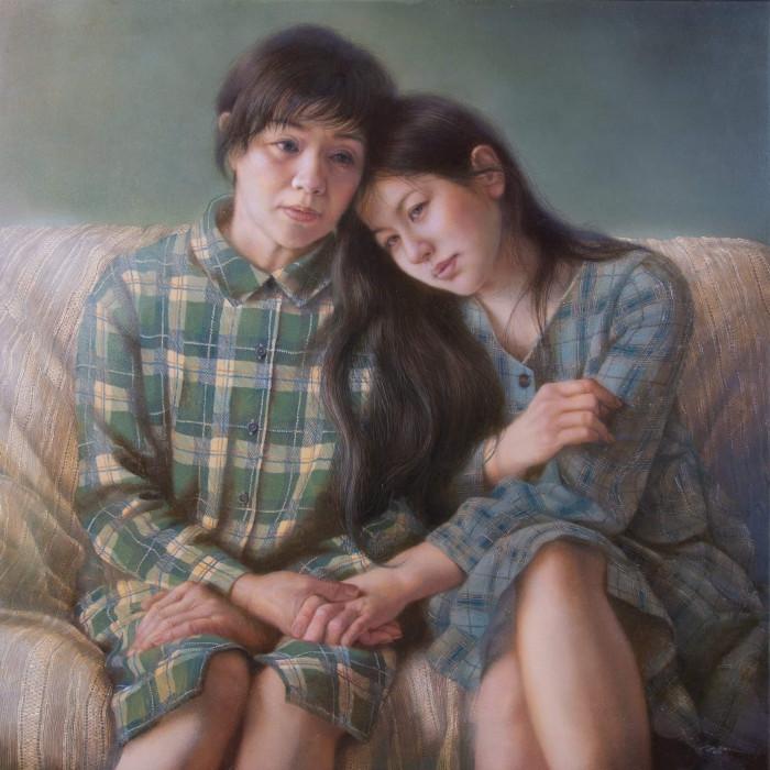「交錯する身体」 シナベニヤ、綿布、白亜地、油絵具 S10 2019年