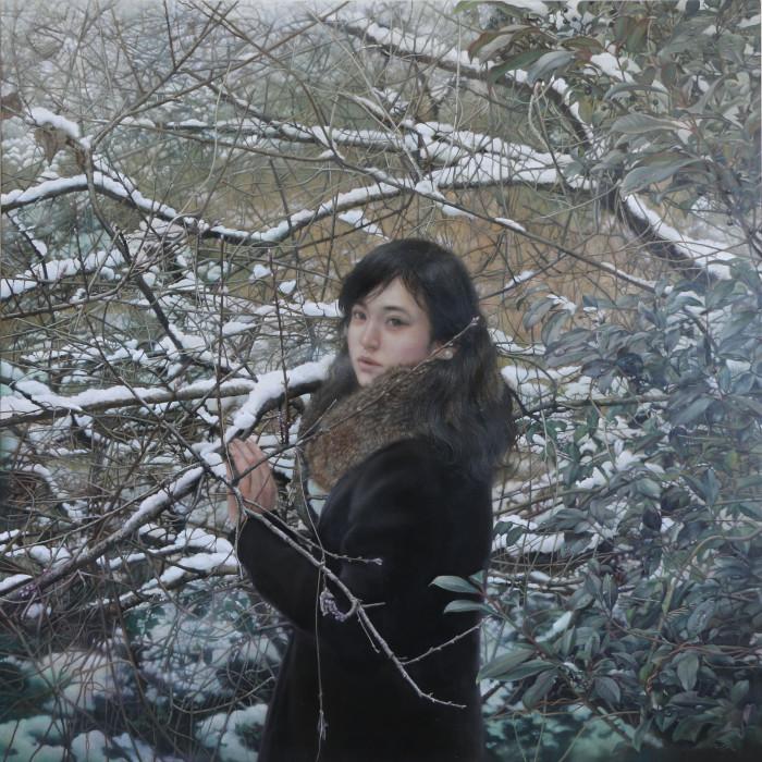 「残光の雪」 パネルに油彩 S30 2017年