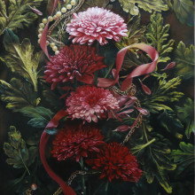 「冷たい花」 シナベニヤ 綿布 白亜地 油絵具 F6 2015年