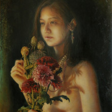 「柔らかな影」 シナベニヤ 綿布 白亜地 油絵具 F8 2015年
