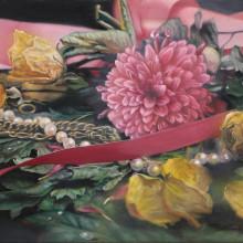 「赤菊」 パネルに油彩 P3 2017年