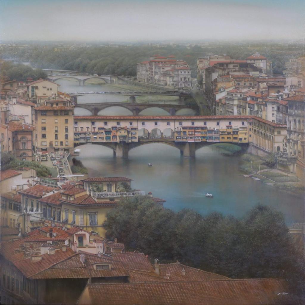 「ヴェッキオ橋」 シナベニヤ、綿布、白亜地、油絵具 S10 2019年