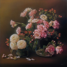 「花の刻」 シナベニヤ、綿布、白亜地、油絵具 S10 2019年