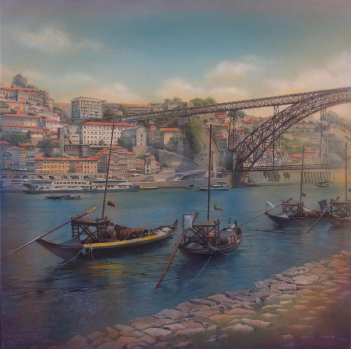 「ドン・ルイス一世橋」 シナベニヤ、綿布、白亜地、油絵具 S10 2019年