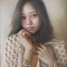 「繋がる糸」 シナベニヤ 綿布 白亜地 油絵具 F6 2015年