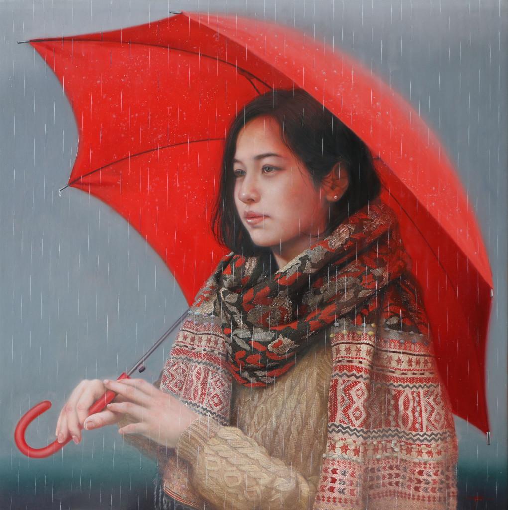 「赤い傘」 パネルに油彩 S10 2016年